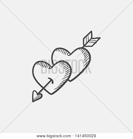 Two hearts pierced with arrow sketch icon for web, mobile and infographics. Hand drawn vector isolated icon.