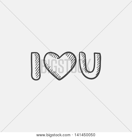 Abbreviation i love you sketch icon for web, mobile and infographics. Hand drawn vector isolated icon.