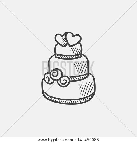 Wedding cake sketch icon for web, mobile and infographics. Hand drawn vector isolated icon.