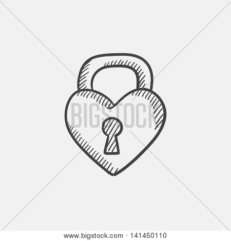 Lock shaped heart sketch icon for web, mobile and infographics. Hand drawn vector isolated icon.