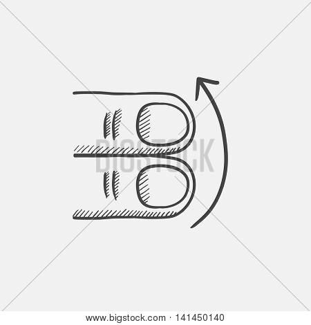 Swipe up with two fingers sketch icon for web, mobile and infographics. Hand drawn vector isolated icon.