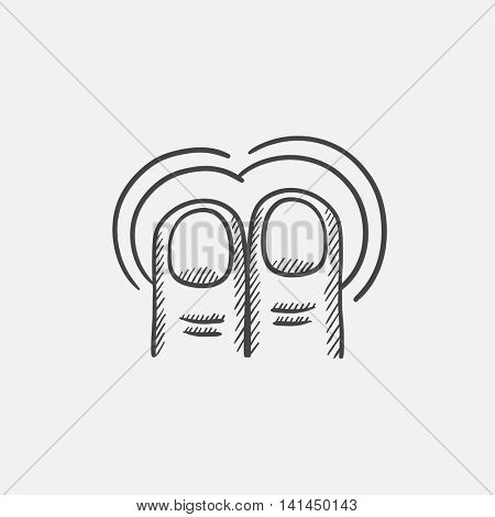 Double tap with two fingers sketch icon for web, mobile and infographics. Hand drawn vector isolated icon.