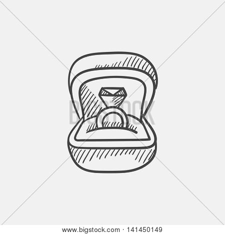Wedding ring in gift box sketch icon for web, mobile and infographics. Hand drawn vector isolated icon.