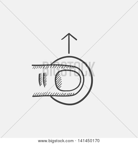 Drag up sketch icon for web, mobile and infographics. Hand drawn vector isolated icon.