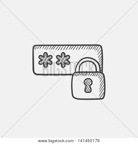 Password with lock sketch icon for web, mobile and infographics. Hand drawn vector isolated icon.