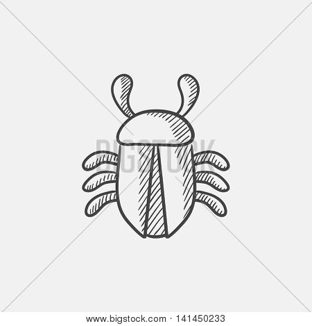 Computer bug sketch icon for web, mobile and infographics. Hand drawn vector isolated icon.