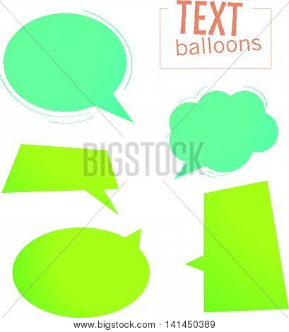 Vector collection of dialog boxes different shapes isolated on white background. Text balloon icon set. Conversation box collection.
