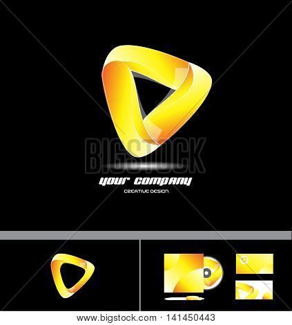 Vector company logo icon element template 3d design corporate triangle business orange yellow sign