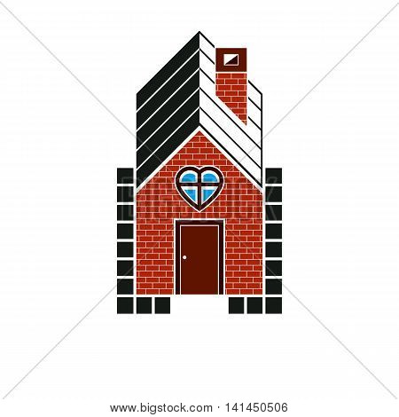 Family house abstract icon harmony and love concept. Simple vector building constructed with bricks architecture theme symbol.