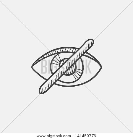 Eye button  sketch icon for web, mobile and infographics. Hand drawn vector isolated icon.