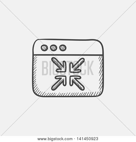 Exit full screen sketch icon for web, mobile and infographics. Hand drawn vector isolated icon.