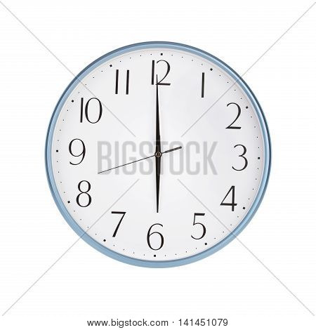Six o'clock on the large round clock