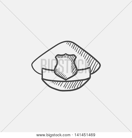 Policeman hat with badge sketch icon for web, mobile and infographics. Hand drawn vector isolated icon.