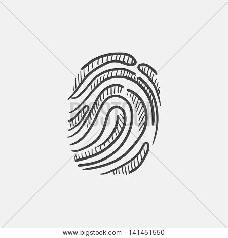 Fingerprint sketch icon for web, mobile and infographics. Hand drawn vector isolated icon.