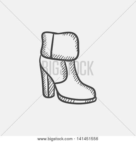 High-heeled ankle boot with fur sketch icon set for web, mobile and infographics. Hand drawn vector isolated icon.