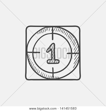 Countdown sketch icon for web, mobile and infographics. Hand drawn vector isolated icon.