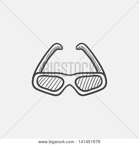 Three d cinema glasses sketch icon for web, mobile and infographics. Hand drawn vector isolated icon.