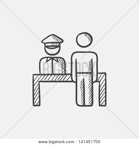 Airport security  sketch icon for web, mobile and infographics. Hand drawn vector isolated icon.