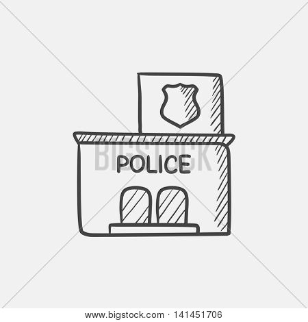 Police station  sketch icon for web, mobile and infographics. Hand drawn vector isolated icon.