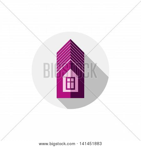 Property symbol vector house constructed with bricks.