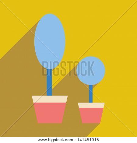 Flat web icon with  long shadow houseplants