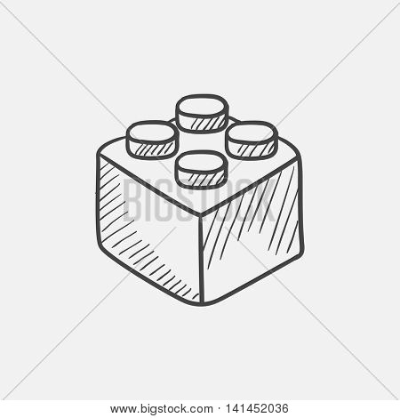Building block sketch icon for web, mobile and infographics. Hand drawn vector isolated icon.