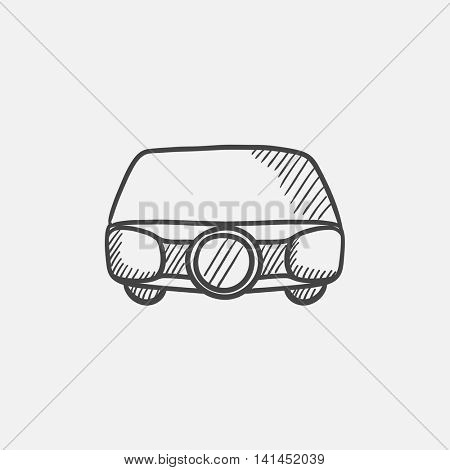 Multimedia projector sketch icon for web, mobile and infographics. Hand drawn vector isolated icon.