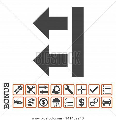 Bring Left icon with bonus pictograms. Vector style is flat iconic symbol, orange and gray colors, white background. Bonus style is bicolor square rounded frames with symbols inside.