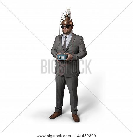 Vintage businessman with helmet and machine at office