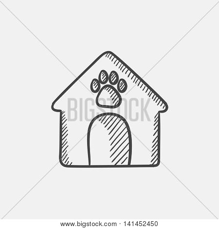 Doghouse sketch icon set for web, mobile and infographics. Hand drawn vector isolated icon.