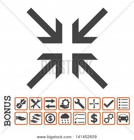 Collide Arrows icon with bonus pictograms. Vector style is flat iconic symbol, orange and gray colors, white background. Bonus style is bicolor square rounded frames with symbols inside.