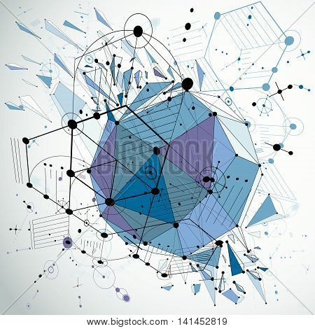 3d vector Bauhaus abstract blue background made with grid and geometric elements hexagons and connected lines.