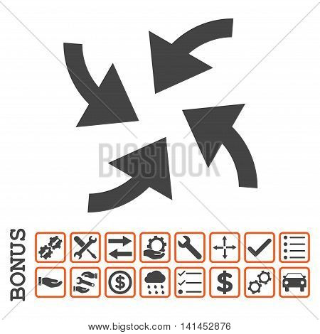 Cyclone Arrows icon with bonus pictograms. Vector style is flat iconic symbol, orange and gray colors, white background. Bonus style is bicolor square rounded frames with symbols inside.