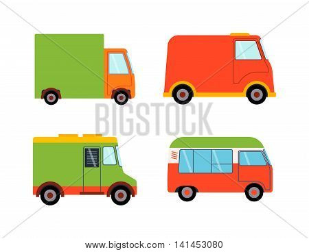 Delivery vector transport truck van isolated on white. Delivery service van, truck, car. Delivery vehicle silhouette. Product goods shipping transport. Fast drive service