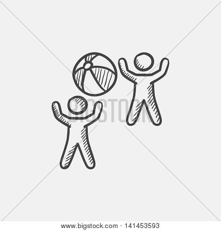 Children playing with inflatable ball sketch icon for web, mobile and infographics. Hand drawn vector isolated icon.