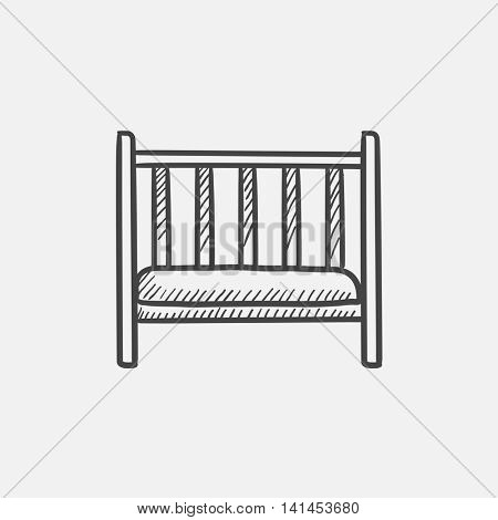 Baby cot sketch icon for web, mobile and infographics. Hand drawn vector isolated icon.