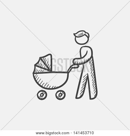 Man walking with baby stroller sketch icon for web, mobile and infographics. Hand drawn vector isolated icon.