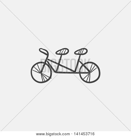 Tandem bike sketch icon for web, mobile and infographics. Hand drawn vector isolated icon.