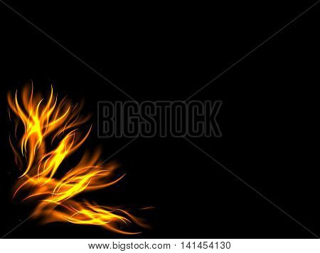 The design of the lower corner of the picture of the flames, vector illustration
