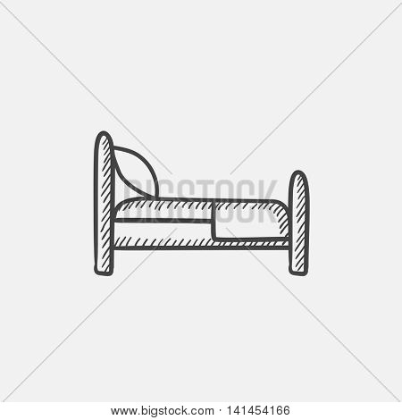 Bed sketch icon for web, mobile and infographics. Hand drawn vector isolated icon.