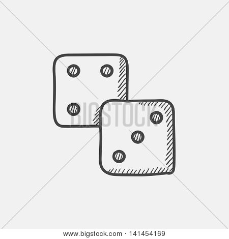 Dice sketch icon for web, mobile and infographics. Hand drawn vector isolated icon.