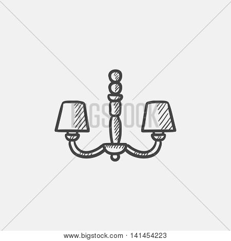 Chandelier sketch icon for web, mobile and infographics. Hand drawn vector isolated icon.