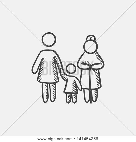 Mother, daughter and grandmother sketch icon for web, mobile and infographics. Hand drawn vector isolated icon.