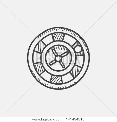 Roulette wheel sketch icon for web, mobile and infographics. Hand drawn vector isolated icon.