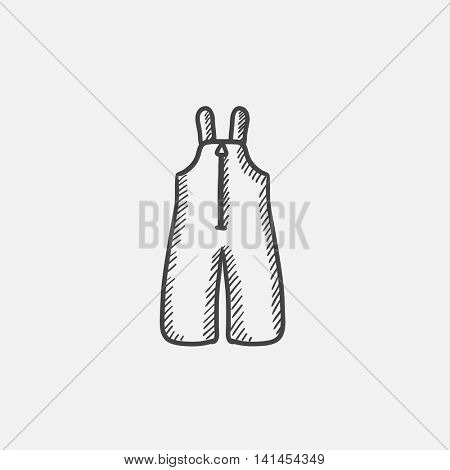 Baby winter overalls sketch icon for web, mobile and infographics. Hand drawn vector isolated icon.