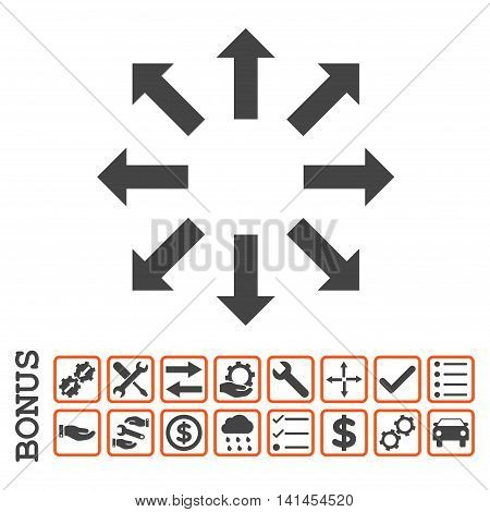 Explode Arrows icon with bonus pictograms. Vector style is flat iconic symbol, orange and gray colors, white background. Bonus style is bicolor square rounded frames with symbols inside.