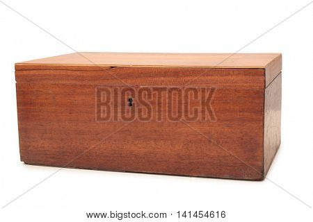 Old wooden box on a white background