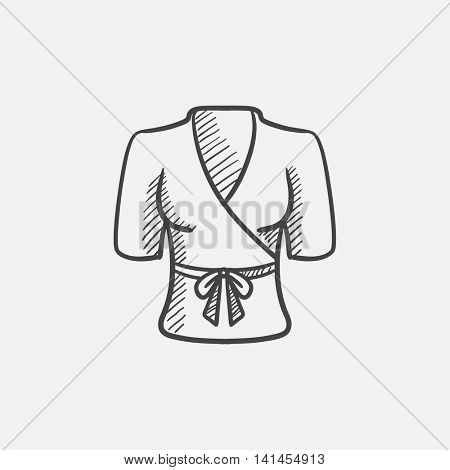 Short female bathrobe sketch icon for web, mobile and infographics. Hand drawn vector isolated icon.