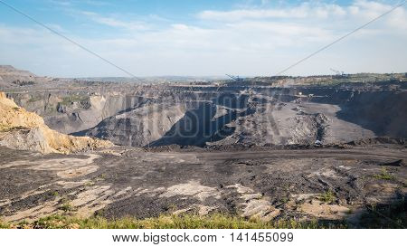 The coal industry in Siberia. Mined coal and transported by BelAZ