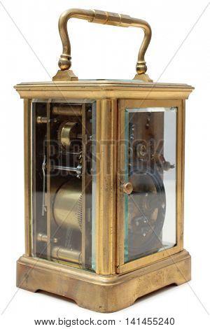 Vintage bronze clock on a white background